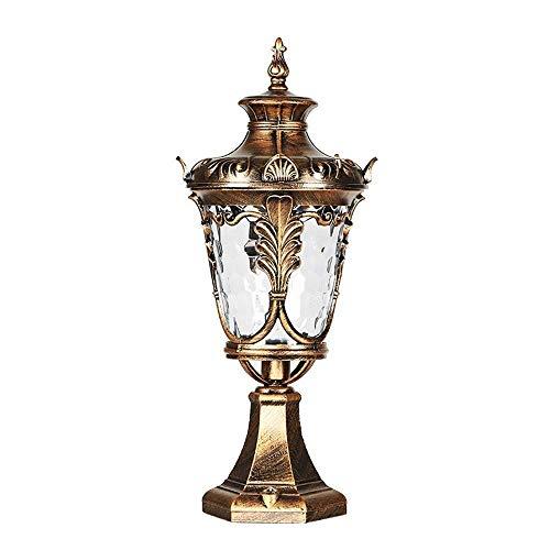 Hohe Patio Tisch (Xungel Vintage wasserdichte Säule Lampe Hof Patio Lampe E27 Victoria Retro Outdoor Tisch Lampe Post Laterne Spalte Scheinwerfer europäischen traditionellen Aluminium)
