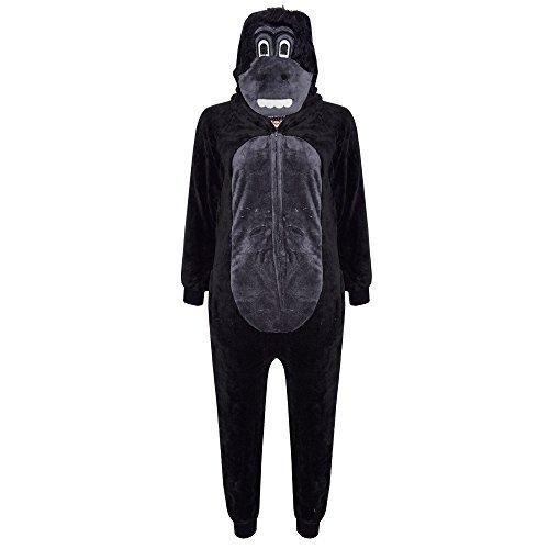 Unisex Kinder Kostüm flauschiger Overall Affe Gorilla Leopard Tarnmuster - Gorilla, 146-152 (Meine Monster High Kostüme)