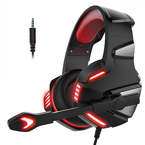 Micolindun Headset Gaming Kopfhörer für PS4, PC, Xbox One, Mikrofon Super Leicht Extremer Komfort Stereo Sound Bass LED für Laptop, Tablet, Mac, Handy (inkl. Adapter)