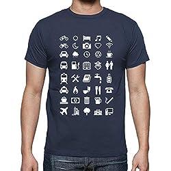latostadora - Camiseta con Emoticonos para para Hombre Denim L