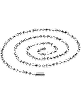 bkwear Unisex Halskette EK 27 bk3 Edelstahl Kette RD 2 mm Dog Tag Stil 60 cm lang - lässt sich kürzen