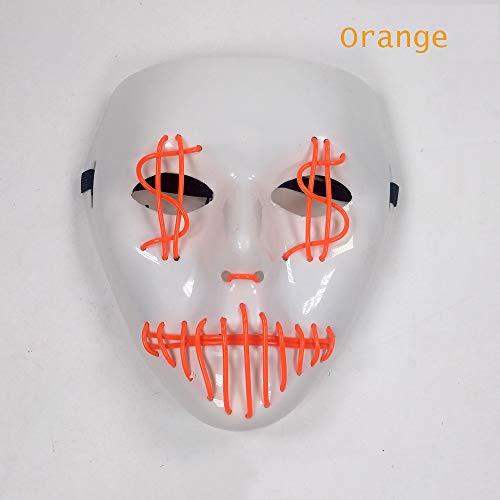 Halloween Maske, Elcold Light Maske Halloween Zubehör Ball Party LED Maske Karnevalsmaske Für Halloween Party Charaktere Dress Up Halloween,Orange