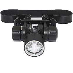 HUANGLP Lampe Frontale LED Lenser,Lumière Souterraine De Mineur De CREE XML-L2 LED IPX8 Imperméable sous-Marine 100M Phares 1200Lm Phares De Plongée De Casque