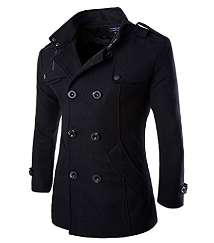 Wollmantel Herren Zweireiher Mantel Kurz Slim Fit Warm Herbst Übergangs Cabanjacke Peacoat Wintermantel (Peacoat Kurze)