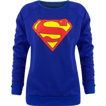 WOMENS LADIES BATMAN SUPERMAN COMIC PRINT PRINTED TOP JUMPER SWEATSHIRT SIZE 814 (S/M, SUPERMAN)