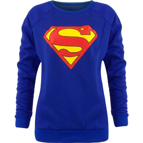 Donna Batman Superman Bambino Stampa Fumetto stampato Felpa Top dimensioni 814 Blue M/L