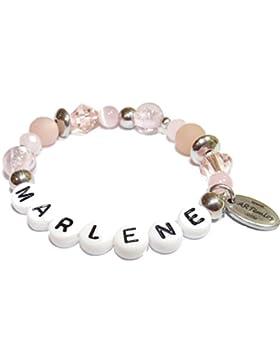 ARTemlos® Handgefertigtes Kinder-Armband mit Name aus Edelstahl und Perlen (020)