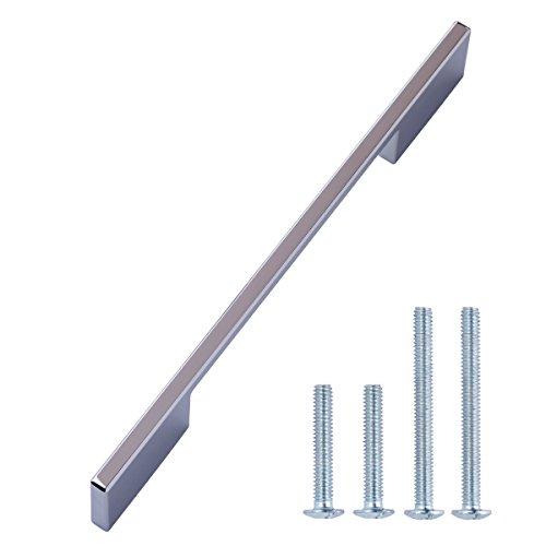 AmazonBasics - Tirador moderno, amplio, de metal fundido, para armario, Orificio central de 16 cm, Cromo pulido, Paquete de 10