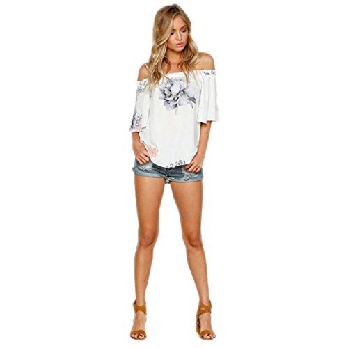❤️Manadlian Chemisier Blouse Femme Ete 2018,Femmes hors Épaule Floral Imprimé Blouse Casual Tops T-Shirt Blanc