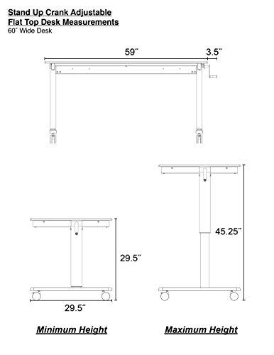Manuell höhenverstellbarer Schreibtisch (Farbe: wählbar, Länge: 120 oder 150cm) - 4