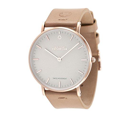 Daye/Turner Damen Uhr Analog Schweizer Uhrwerk mit Leder Armband DT-91SM23RG-33LB