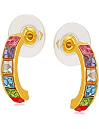Mahi Gold Plated Multicolour Gleaming Crystals Half Bali Earrings For Girls And Women ER1109457GMul