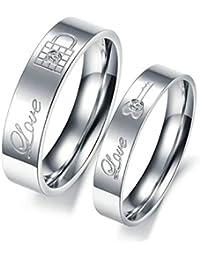 Damen Ring Partnerring Sterling Silber Zirkonia Verlobungsring