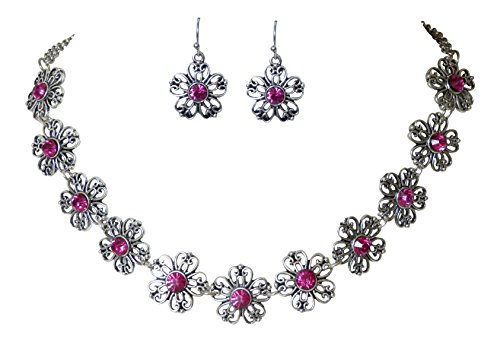 Trachtenschmuck Dirndl Ornament Blüten Kristall Collier Set - Kette und Ohrhänger - Fuchsia Pink