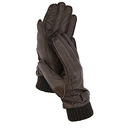 Navaris Touchscreen Nappa Lederhandschuhe für Herren - Leder Handschuhe aus Lammleder mit Kaschmir Mix Futter - Herrenhandschuhe mit Touch Funktion Leder-handschuhe Herren Braun