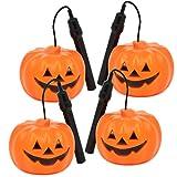 com-four® 4X Halloween Kürbis-Laterne mit LED-Licht, Batteriebetriebenes Windlicht mit Farbwechsel für Kinder (04 Stück - Kürbislaterne)
