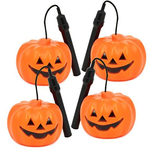 Com-four® 4x lanterna zucca di halloween con luce a led, lanterna a batteria con cambio colore per bambini (04 pezzi - lanterna di zucca)