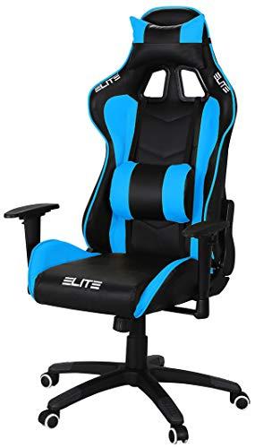 ELITE Racing Gaming Stuhl MG-200 - Bürostuhl - Kunstleder - Ergonomisch - Racer - Drehstuhl - Chair - Chefsessel - Schreibtischstuhl (Schwarz/Blau)