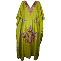 Mogul Interior Women Kimono Kaftan Green Kashmiri Embroidered Bohemian Silk Caftan One Size