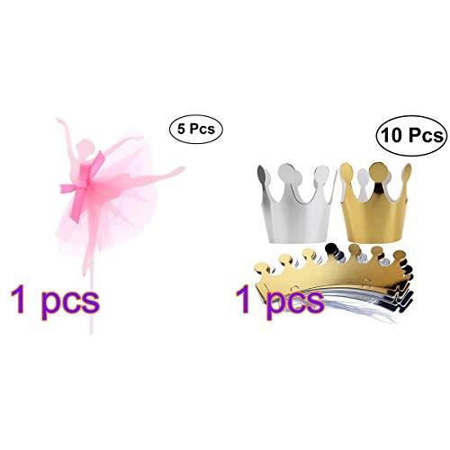 Amosfun Ballerina Mädchen Cupcake Topper Geburtstag Papier Crown Cap Kuchen Dekoration Birthday Party Favors Dekorationen