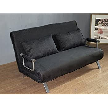 Italfrom Canape Convertible 2 Places Noir 155 X 69 X 83 Cm