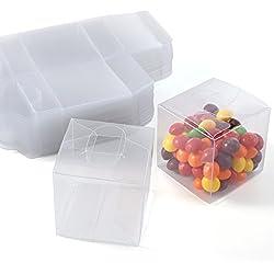 CLE DE TOUS - Set de 50/100 Cajas para dulces bombones Cajita cuadrada transparente Plástico para boda regalo Clear Cube Gift Boxes PVC (50)