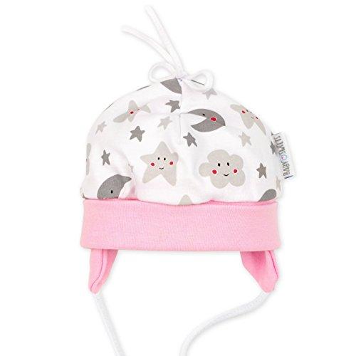 Baby Sweets Baby Mütze Mädchen weiß grau rosa | Motiv: Sweet Dreams | Babymütze zum Binden für Neugeborene & Kleinkinder | Größe: 9 Monate (74)