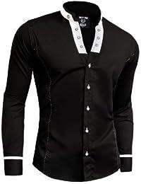 D&R Fashion Men's Stylish Shirt with Band Collar Slim Fit White Black Elegant Cotton