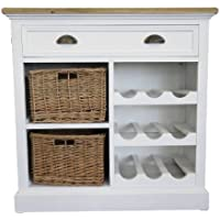 Comparador de precios Casa-Padrino Country Style Chest with Drawer and 2 Rattan Baskets Antique White/Natural Colors 80 x 35 x H. 80 cm - Handcrafted Chest with Bottle Rack - precios baratos
