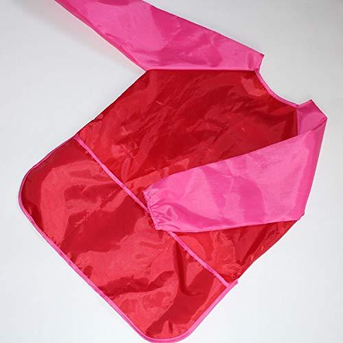 Kinder Kinder Langarm-Schürze wasserdichte Schmutzfeste Zeichnung Malerei Kittel (Color : Red+Pink Sleeve) (Kittel Für Malerei)