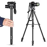 Zecti Trípode de viaje, Trípode y Monopod para Camara, 22 to 70 pulgadas, Cabeza de 3 vías con Mango Giratorio para Canon Nikon Sony Panasonic DSLR con Bolsa de Transporte
