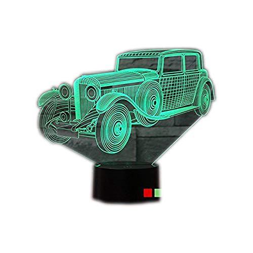 3D Lampe 3D Oldtimer 3D LED Stimmungslicht. 7 verschiedene Farben wählbar - Auswahl aus 81 verschiedenen Motiven 3D Illusion Dekolicht mit USB Anschluß und USB Netzteil