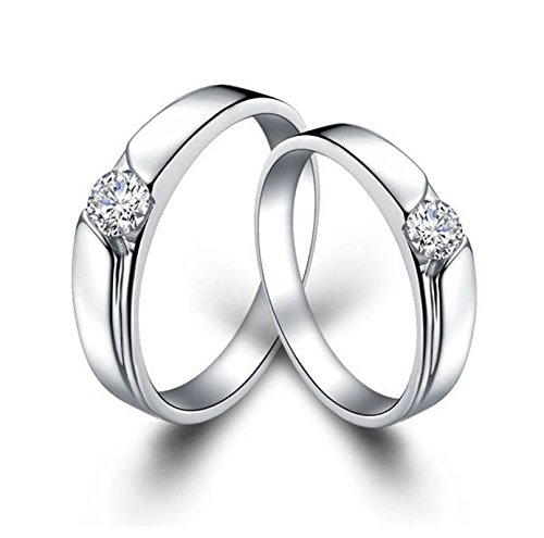 Bishiling Paarepreis Silberring für Damen Herren mit Rundschliff Kristall Partnerring Ehering Ringe SilberDemen Gr.52 (16.6)&Herren Gr.57 (18.1) (Der 12 Jährige Prinzessin Kostüme)