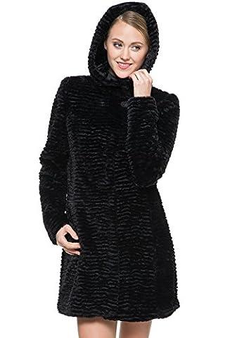 Ovonzo Women's Fully Karakul Lamb Faux Fur Coat with Hood Black Size XL