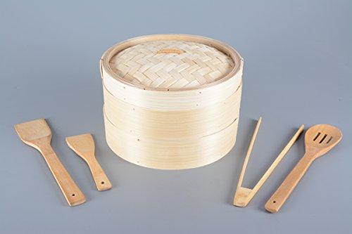 Bambus Dämpfer 3-teilig. 25cm Ø inklusive Kochlöffel-Set 4-teilig