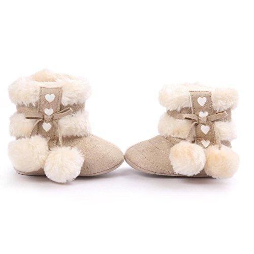 Ularma 0~18 Monate Baby Mädchen Plüschball Schneestiefel Winterstiefel Warme Baumwolle Lauflernschuhe Kleinkind Schuhe (11cm, Beige) Beige