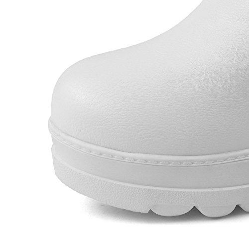 AgooLar Damen Ziehen Auf Mittler Absatz Pu Leder Rein Niedrig-Spitze Stiefel Weiß