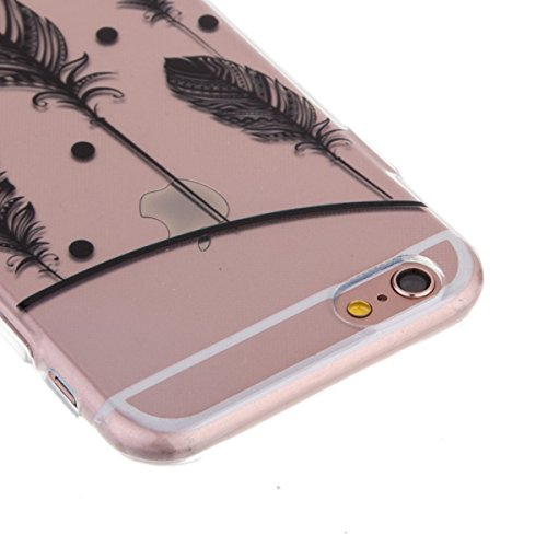 Ekakashop Transparent Mandala Hülle Muster für Apple iPhone 6/6s 4.7 Zoll, Modisch Durchsichtig Hüllen mit Schwarz Henna Sonnenblume Motiv Weiche TPU Soft Silikon Handyhülle Schutzhülle Rückseite Etui Schwarze Feather