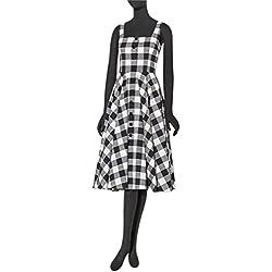 Eyekepper Las mujeres del vestido del oscilación de la vendimia 1950s Negro-blanco de la tela escocesa Vestido de tirantes