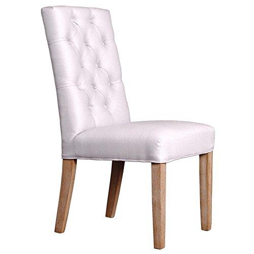 LEBENSwohnART Stuhl PARIS Light-Grey Leinenbezug Esszimmerstuhl Küchenstuhl Stoffbezug Design