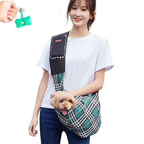 Teammao Haustier Hunderucksack Mode Gitter Tragen Paket Schultasche Outdoor Tragbar Laufen Reisen Weich Atmungsaktiv Hund Katze Rucksack Tasche Geeignet für kleine Haustiere. (Grün) -