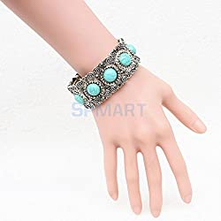 ELECTROPRIME Women Boho Gypsy Plate Bracelets Turquoise Gem Stone Bangle Jewelry