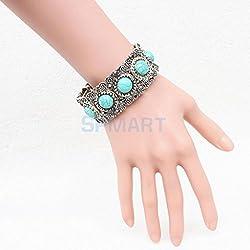ELECTROPRIME Women Boho Gypsy Plate Bracelets Turquoise Gem Stone Bangle Jewelry