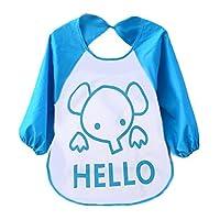 Yistu Baby Bibs,Cute Colorful Kids Child Cartoon Translucent Plastic Soft Baby Waterproof Bibs (Blue)