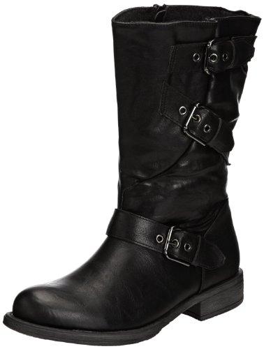 Femme Bottes Manfield/Dolcis Marron Noir Taupe Bordeaux brun clair Manfield Crinkle Biker Boot Black