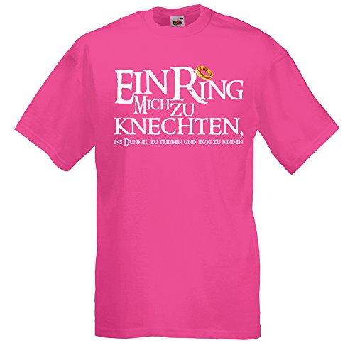 Shirtoo Herren T-Shirt ein Ring Mich zu knechten für Den Junggesellenabschied (Männer) in Pink, Größe L