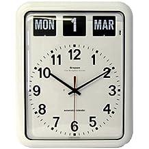 NRS Healthcare - Reloj de pared analógico con calendario (tamaño ...