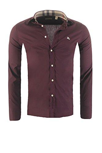BURBERRY Herren Hemd BRIT Slim Fit, in verschiedenen Farben Outletware, Farbe:Bordeaux, Größe:XL