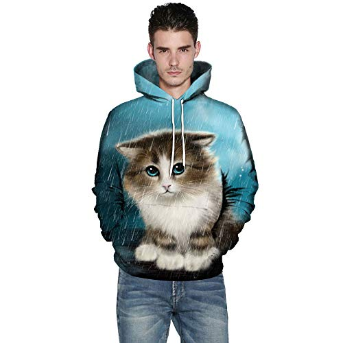 KPILP Kapuzenpullover Männer Übergröße Sweatshirts Frauen warme Mode Oberteile 3D Cat Print Mantel Langarm Paare Hoodies Bluse Shirts - Office Cat Kostüm