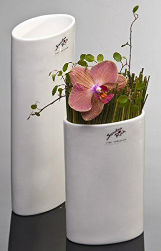 Porzellanvase OVAL Vase Porzellan Blumenvase Tischvase weiß 14 cm